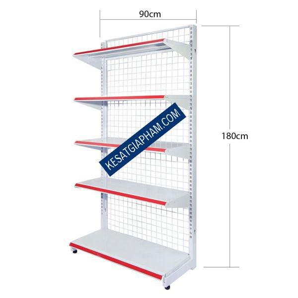 Kệ siêu thị đơn C180cm x D90cm x 5 tầng