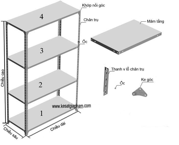 Bản vẽ kệ sắt v lỗ 4 tầng