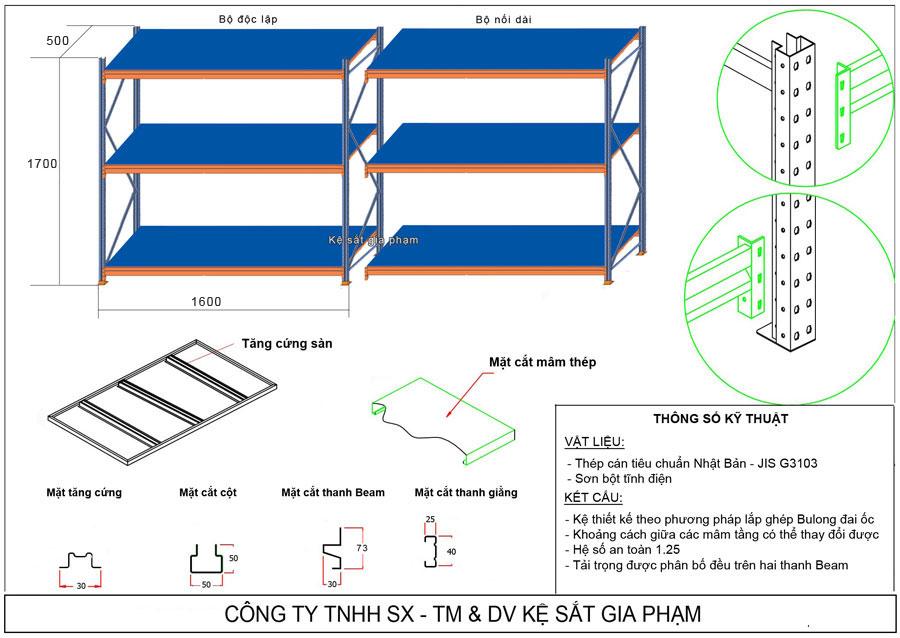 Bản vẽ kệ trung tải 3 tầng TT32